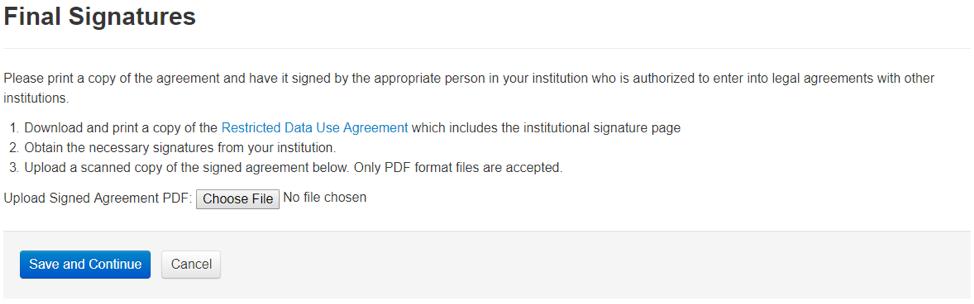 Final signatures