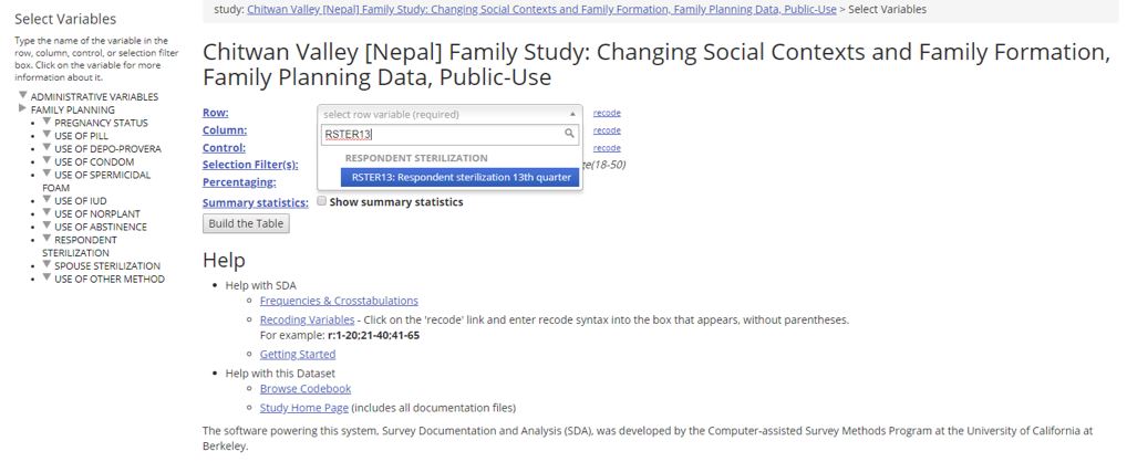 CVFS: Changing Social Contexts and Family Formation, Family Planning Data, Public-Use