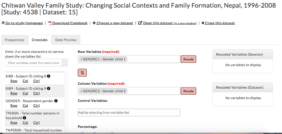 Chitwan Valley [Nepal] Family Study: crosstabs: select variables