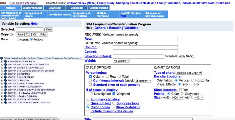 Chitwan Valley [Nepal] Family Study: Selecting an analysis program