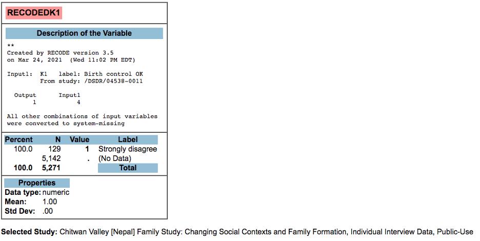 Chitwan Valley [Nepal] Family Study: RECODEDK1